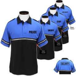 Bike Patrol Polo Shirt - POLICE, SECURITY, SHERIFF or STAFF Royal Blue/Black TT03