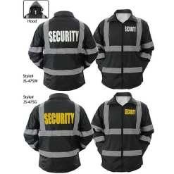 High Visibility Black Security Raincoat With Reflective Stripes