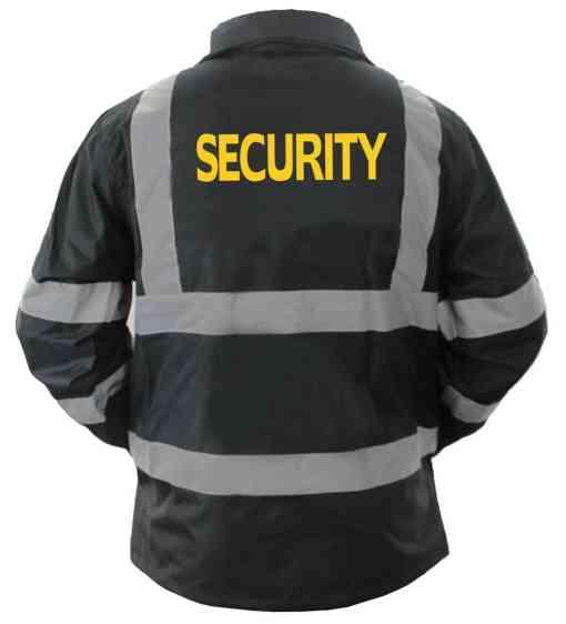 js_47_sec-sg_back High Visibility Black Security Raincoat With Reflective Stripes