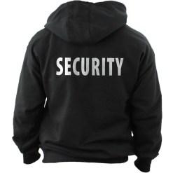 Black Security Hooded Sweatshirt with Bold ID