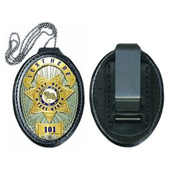 Leather Badge Holder with Chain