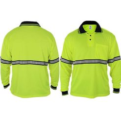 Long Sleeve Polo Shirts with Reflective Stripes