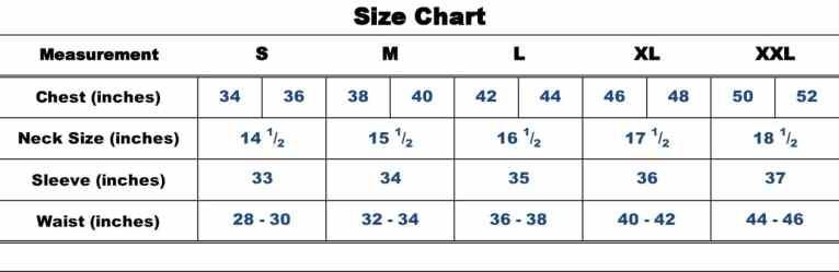 Safeguard Size Chart