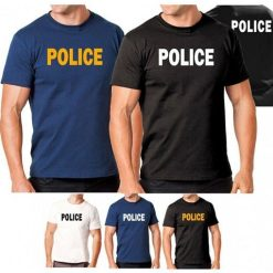 Hanes Tagless 5250 Comfortsoft Cotton T-Shirt with Police ID White Black Navy Blue