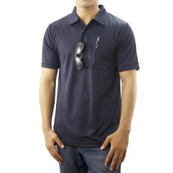 Navy Blue Pro-Dry Polo Shirt with One Pocket 100% Polyester