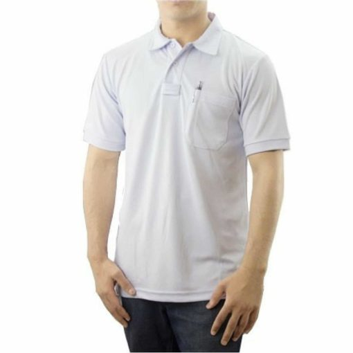 White Pro-Dry Polo Shirt with One Pocket 100% Polyester