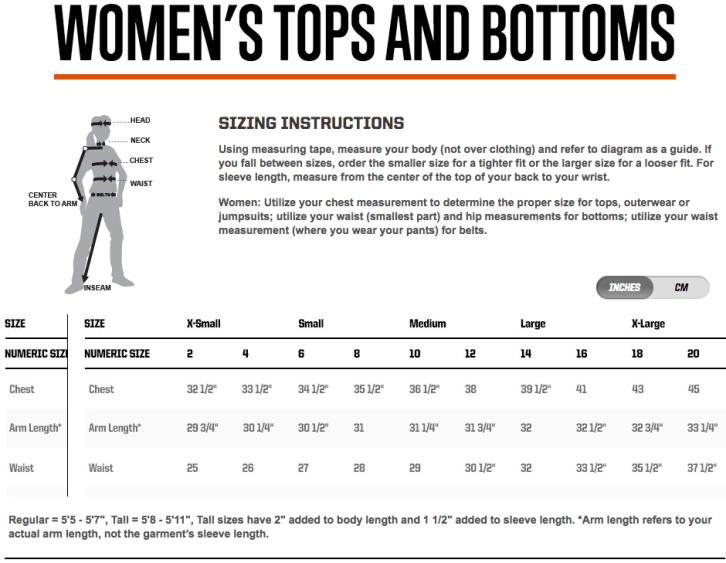 5.11 Women's Sizing Chart