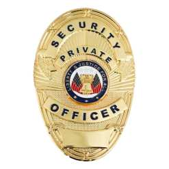 First Class Security Private Officer Gold Shield Badge