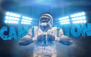 What does this image of Cam Newton Communicate?