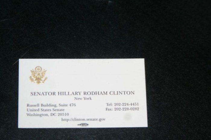 Hillary Clinton's Business Card