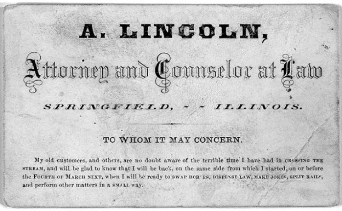 Abraham Lincoln's Business Card