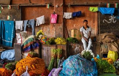 Morning Light, Kolkata Flower Market by John Cross