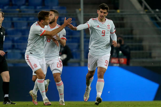 Gerard Moreno celebrates Spain's equaliser