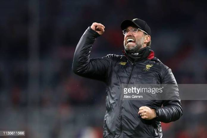 MUNICH, GERMANY - MARCH 13:  Jurgen Klopp, Manager of Liverpool celebrates victory after the UEFA Champions League Round of 16 Second Leg match between FC Bayern Muenchen and Liverpool at Allianz Arena on March 13, 2019 in Munich, Bavaria. (Photo by Alex Grimm/Bongarts/Getty Images)