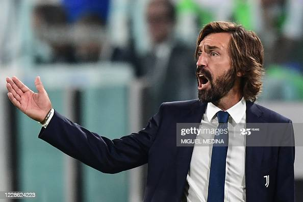Juventus' Italian coach Andrea Pirlo reacts during the Italian Serie A football match Juventus vs Sampdoria on September 20, 2020 at the Juventus stadium in Turin. (Photo by Miguel MEDINA / AFP) (Photo by MIGUEL MEDINA/AFP via Getty Images)