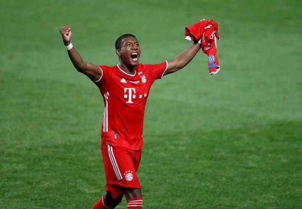 David Alaba celebrates his second Champions League victory with Bayern Munich.