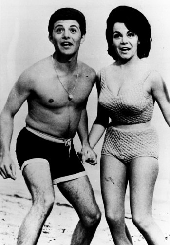 OCT 9 1977, MAR 21 1980, JUL 23 1995 Below, Frankie Avalon and Annette Funicello as they were during the Beach Party era. Right, Elleen Mintz, one of seven Annette look-alike contestants, screams as the audience votes her the winner.
