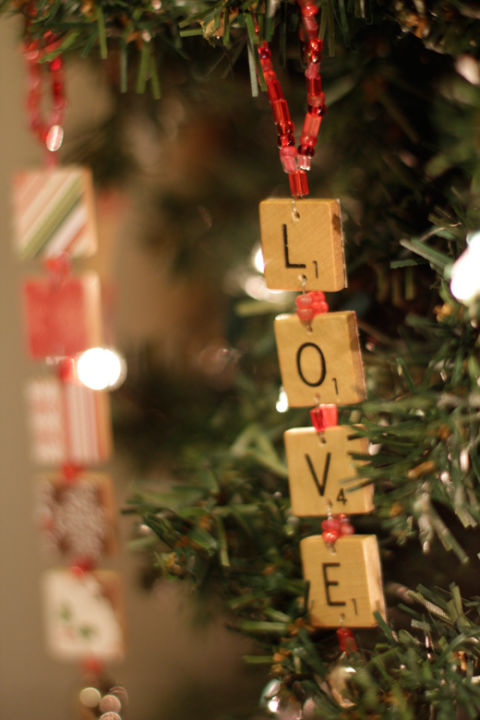 Got an old Scrabble game you never play? Upcycle the pieces into word ornaments with wire, beads, a drill and scrapbook paper. Get the tutorial at Things That Are Pretty. What you'll need: Scrabble tiles ($6; amazon.com); Jewelry wire ($6, amazon.com)