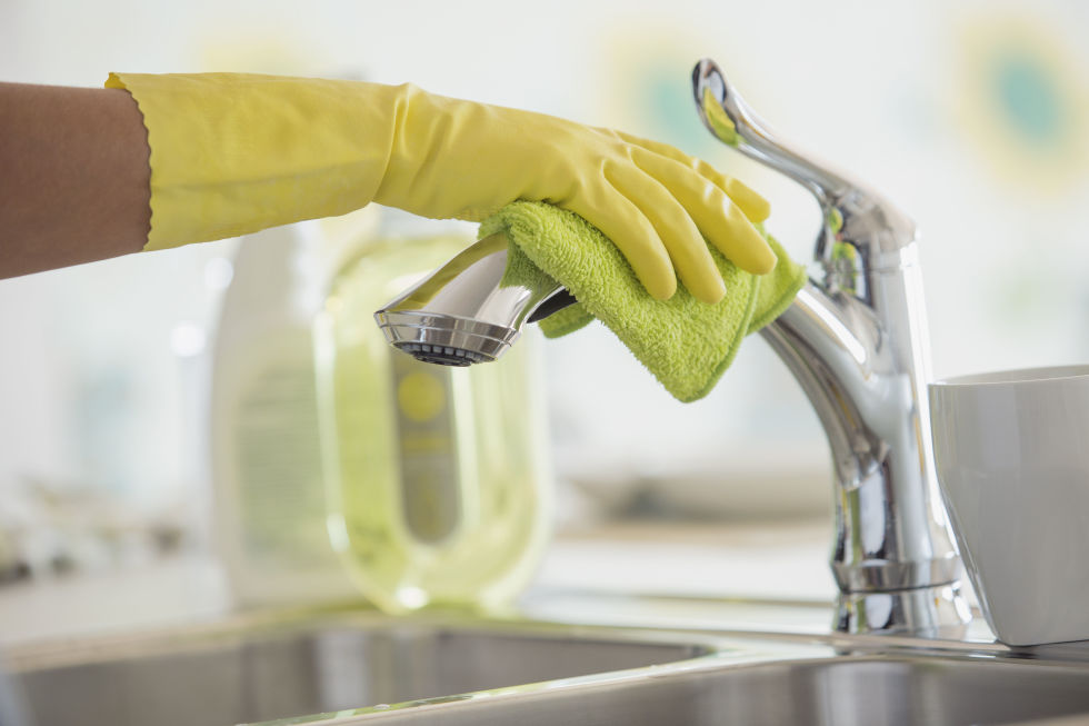 It's hard to believe, but your dirty kitchen sink has more bacteria than your toilet seat. Use a product labeled as an EPA-registered disinfectant, or make your own. To disinfect, clean your sink with soap and water first, then spray a mist of vinegar followed by a mist of hydrogen peroxide, and let air-dry. (Don't mix the vinegar and hydrogen peroxide together—spray one after the other.) If your sink is stainless steel, make it sparkle afterward by putting a few drops of mineral oil on a soft cloth and buffing. This prevents water buildup, which deters mold and keeps the sink looking clean longer.