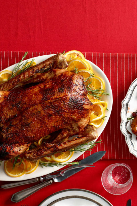 With a roast goose this beautiful your family and friend will still be sighing well into the new year thanks to this tastes-as-good-as-it-looks Christmas dinner centerpiece. Get the recipe.