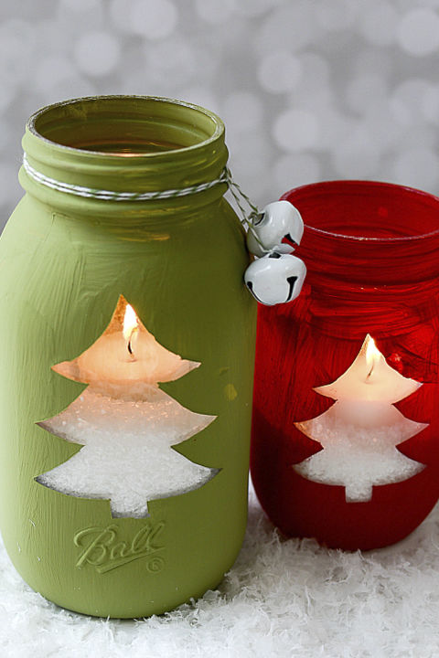 These colorful jars will light up your home on those cold winter nights.  Get the tutorial at Mason Jar Crafts Love.  What you'll need: Mason jars ($22; amazon.com); Red chalk paint ($9; amazon.com); Green chalk paint ($6, amazon.com)