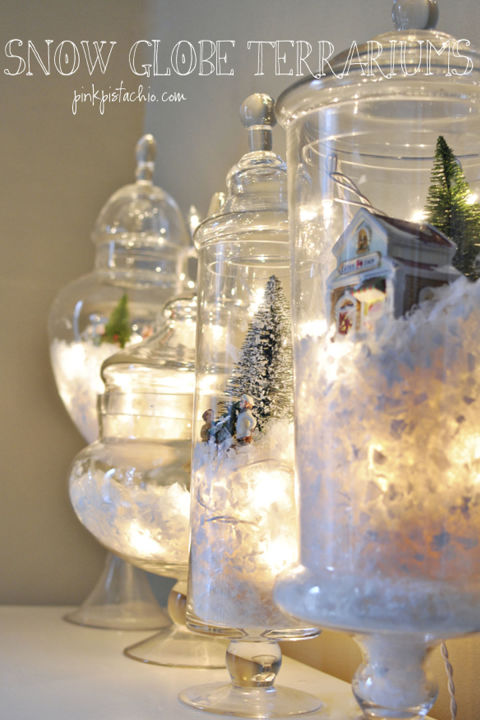 In 10 minutes, create beautiful jars evoking picture-perfect holiday scenes, filled with snow and twinkling lights. Get the tutorial at Pink Pistachio.
