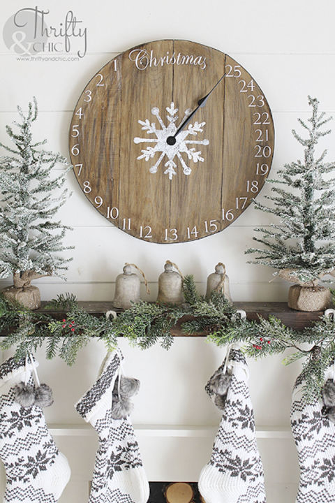 Countdown the days until Christmas with this one-of-a-kind DIY timepiece.  Get the tutorial at Thrifty & Chic.  What you'll need: Wood glue ($6; amazon.com); Wood stain ($8; amazon.com); Color stain ($11, amazon.com)