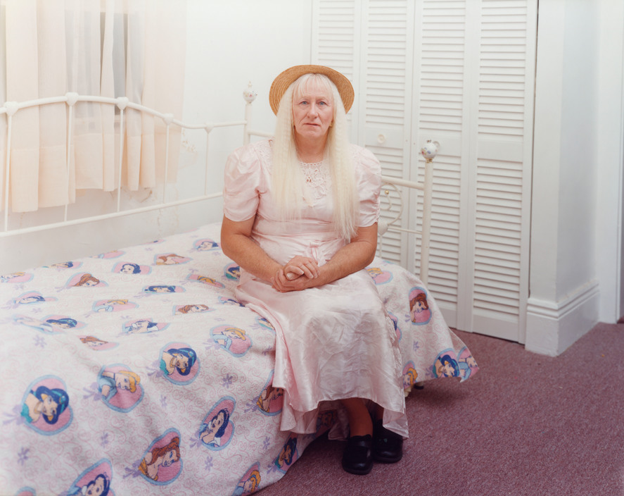 USA. New Orleans, Louisiana. 2002. Crystal, transgender princess. Easter Sunday. Sleeping by the Mississippi.
