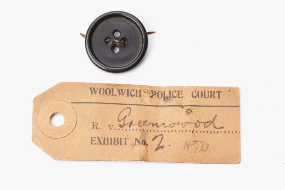 The button that was used to convict David Greenwood of murder, 1918. Greenwood was convicted of raping and murdering 16 year old girl, Nellie Trew. This button was found at the crime scene. He denied having met Nellie but was found guilty and sentenced to death, commuted to life imprisonment instead. He was released in 1933 aged 36. But was he guilty of the crime? © Museum of London / object courtesy the Metropolitan Police's Crime Museum.