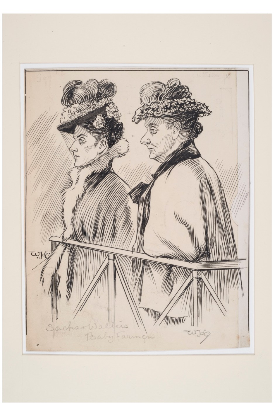 1a3. William Hartley Courtroom illustration of Amelia Sachs and Annie Walters on trial for baby farming, 1903 ∏ Museum of London