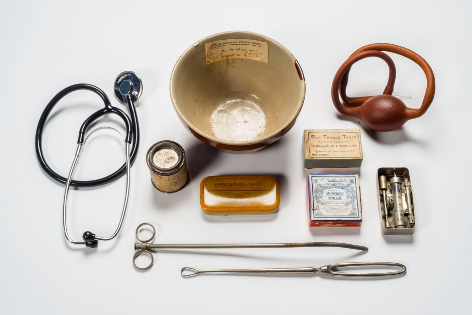 Medical implements and drugs used in administering illegal abortions, seized by Metropolitan Police, 20th century. © Museum of London / object courtesy the Metropolitan Police's Crime Museum.