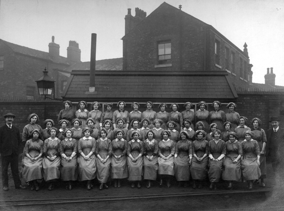 Uniformed workers, London and North Western Railway Company, 1914-1918. Courtesy of Manchester Libraries, Information and Archives, Manchester City Council