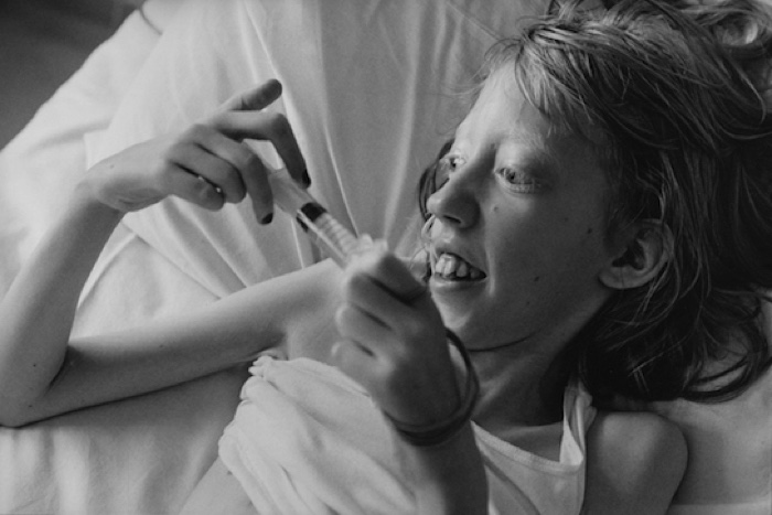 Molly administering her own medication, St.Mary's Hospital,London1998_The Time of Her Life_Lesley McIntyre002 600px
