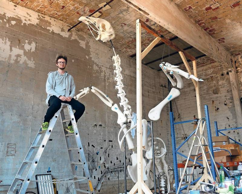 Künstler Andreas Greiner in seinem Atelier in der Malzfabrik, Berlin Tempelhof Foto: Mike Wolff