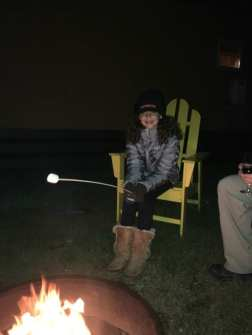 Roasting marshmallows by the fire