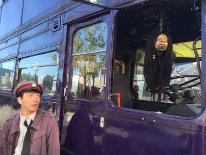 The shrunken head and the Knight bus driver in Universal Studios
