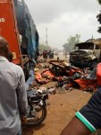 Accident !!! Truck Crushes 3 school children and 5 others to death in Nnewi, Anambra State. Truck was set ablaze Immediately (photo & Video)