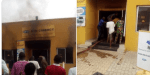 Angry Nigerians Set MTN office on fire in Lagos  State (photos)