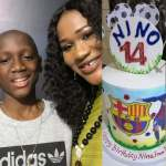 Sunmbo Adeoye Celebrates her first Son with Tuface, Nino Idibia, as he turns 14 (Photos)
