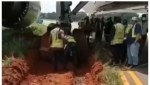 Airplane gets stuck in Mud after skidding off Runway in Lagos Airport (Video)