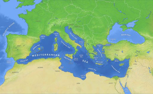 Map of Mediterranean Sea and surrounding area.