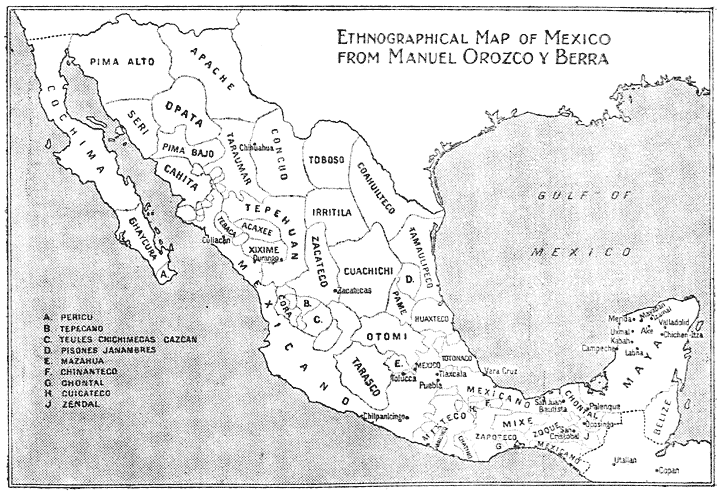 Ethnographical Map of Mexico from Manuel Orozco y Berra
