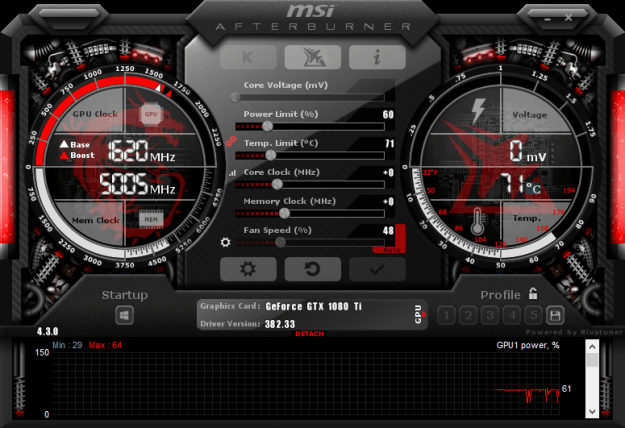 NVIDIA 1080 TI Underclock Settings