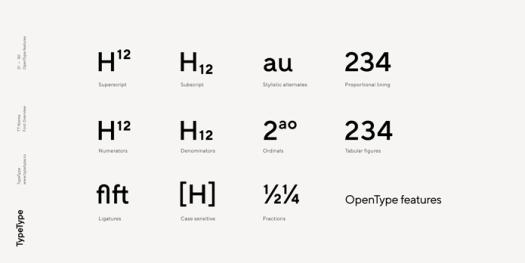 TT Norms, OpenType features