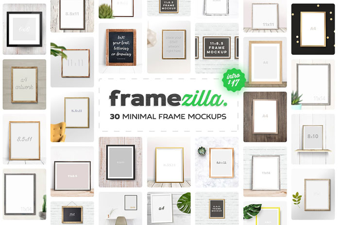 Framezilla - 30 simple to use frame mockups.