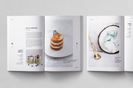 Moscovita magazine template, separated layers for images, texts, and graphics.
