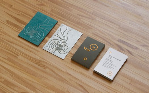 Business cards with embossing effect.