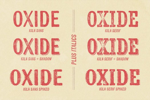 Sans and Serif with shadow and spiked versions.