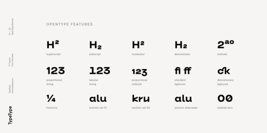 TT Travels font family, OpenType features.