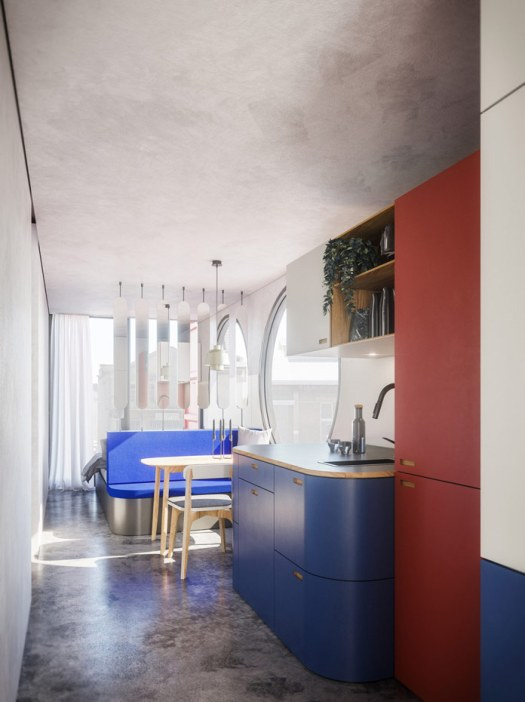 Living space created inside of sea cargo containers.